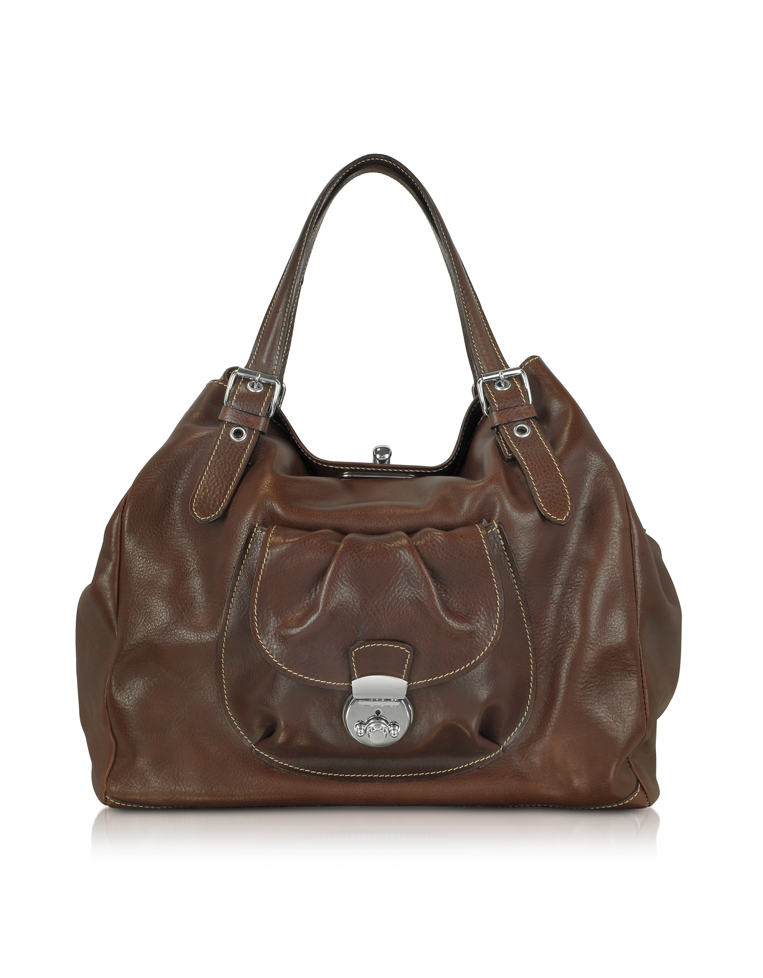 Brown Italian Leather Tote