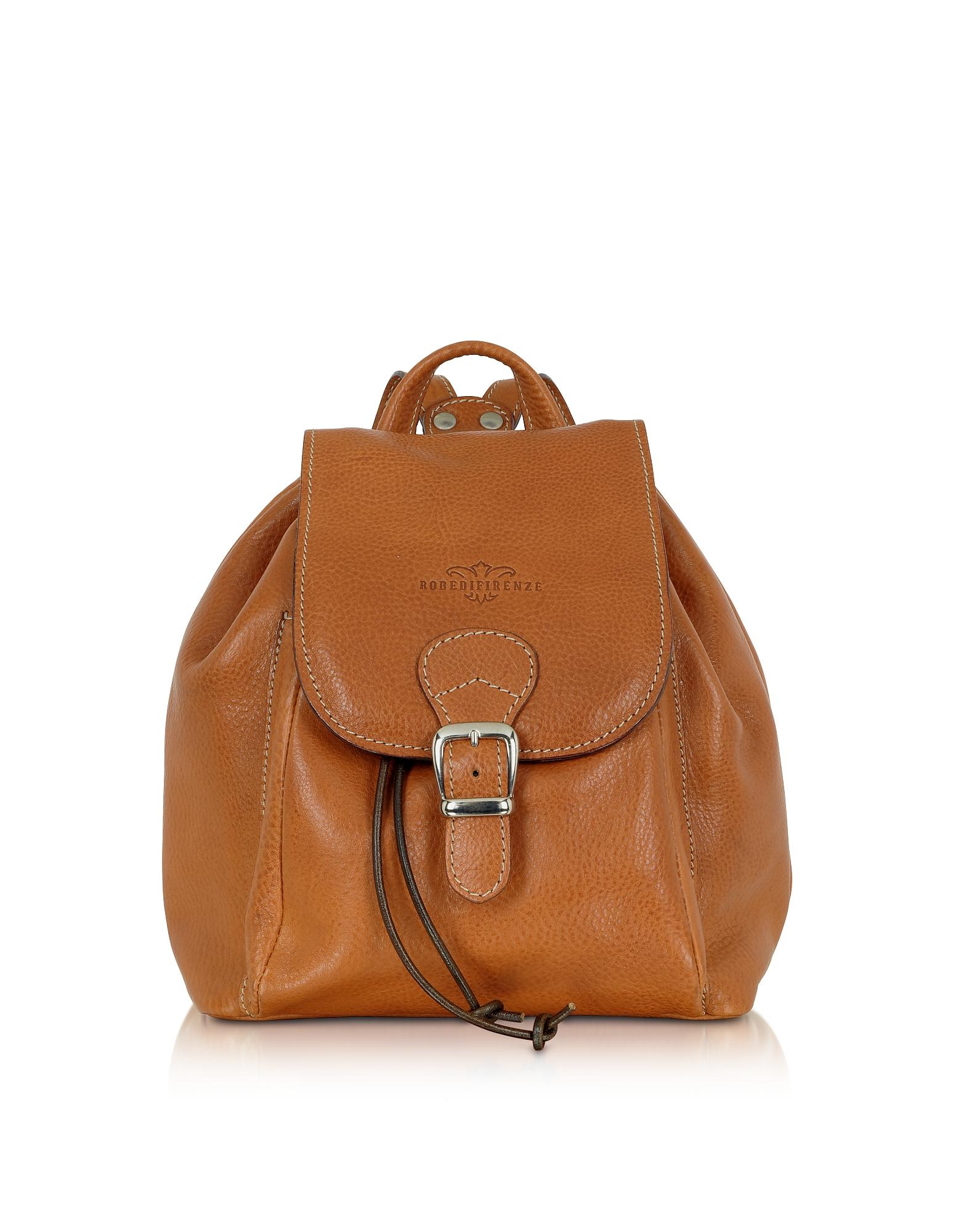 Желтовато-коричневый Кожаный Рюкзак