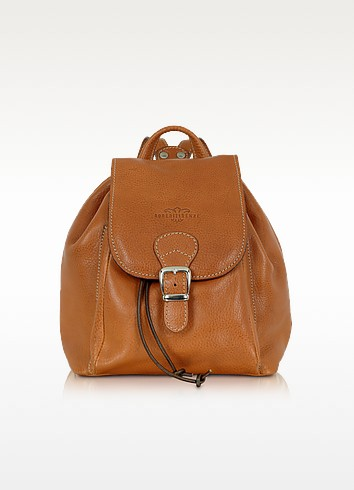 Robe di Firenze Camel Italian Leather Backpack at FORZIERI