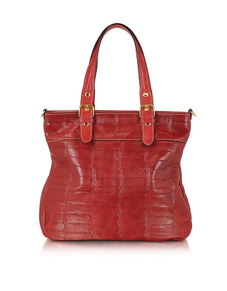 Foto Robe di Firenze Shopper in Pelle Rosso Rubino Stampa Cocco Borse donna