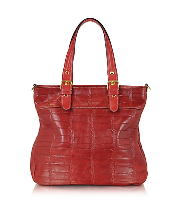 Robe di Firenze - Red Croco Stamped Italian Leather Tote