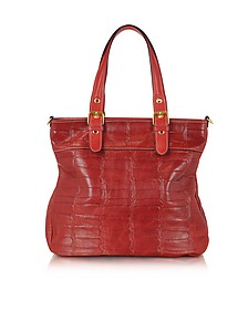 Red Croco Stamped Italian Leather Tote - Robe di Firenze
