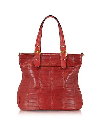 Red Croco Stamped Italian Leather Tote - Robe di Firenze