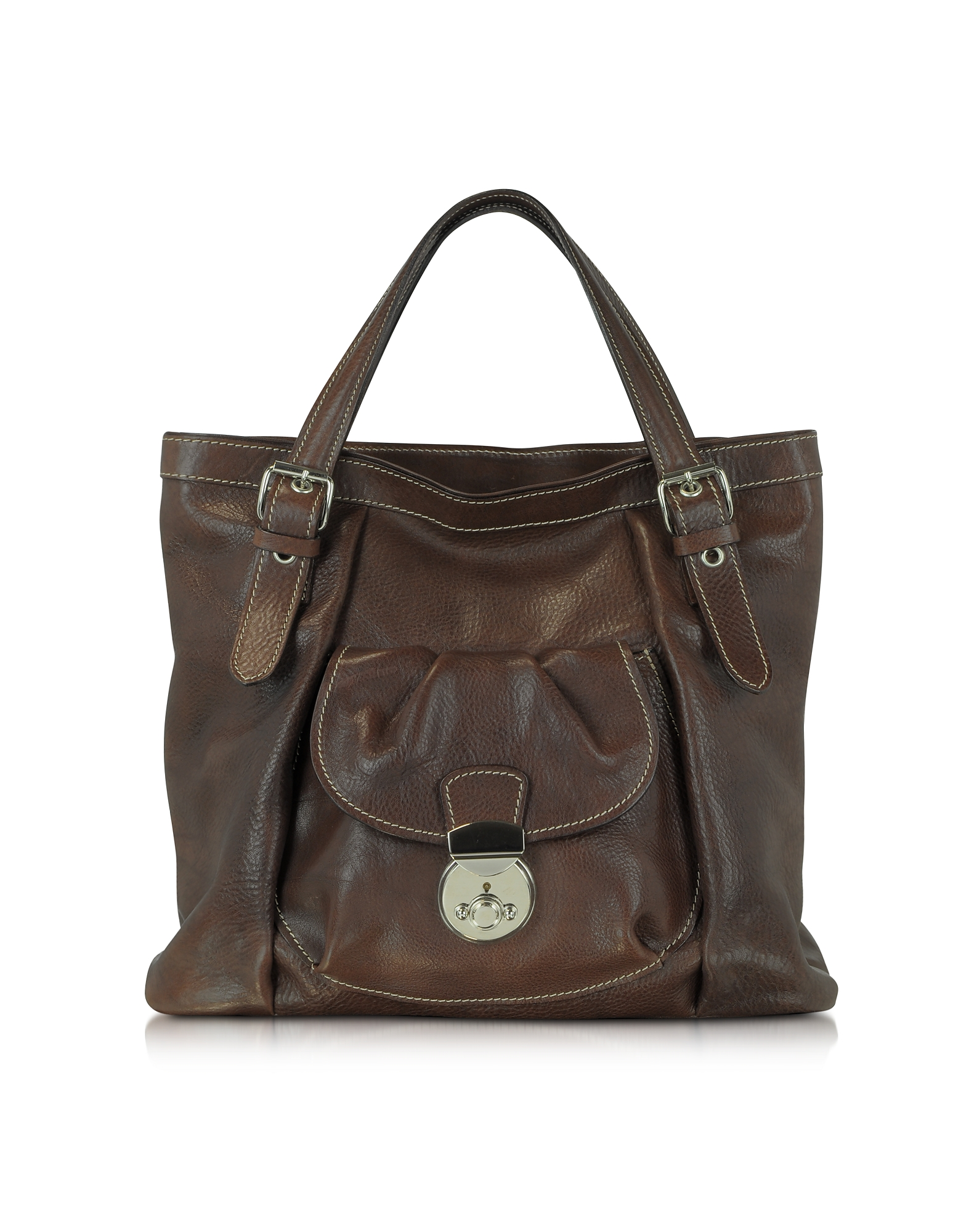 Robe di Firenze Designer Handbags, Dark Brown Italian Leather Tote (Luggage & Bags) photo