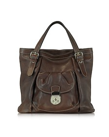 Dark Brown Italian Leather Tote - Robe di Firenze