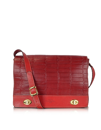 Robe di Firenze - Burgundy and Red Croco Stamped Italian Leather Shoulder Bag