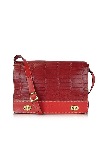 Burgundy and Red Croco Stamped Italian Leather Shoulder Bag - Robe di Firenze