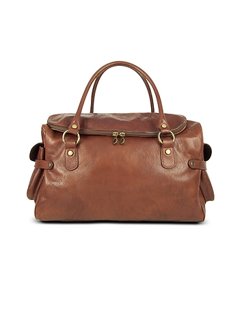 Large Brown Pebbled Italian Leather Carryall Bag