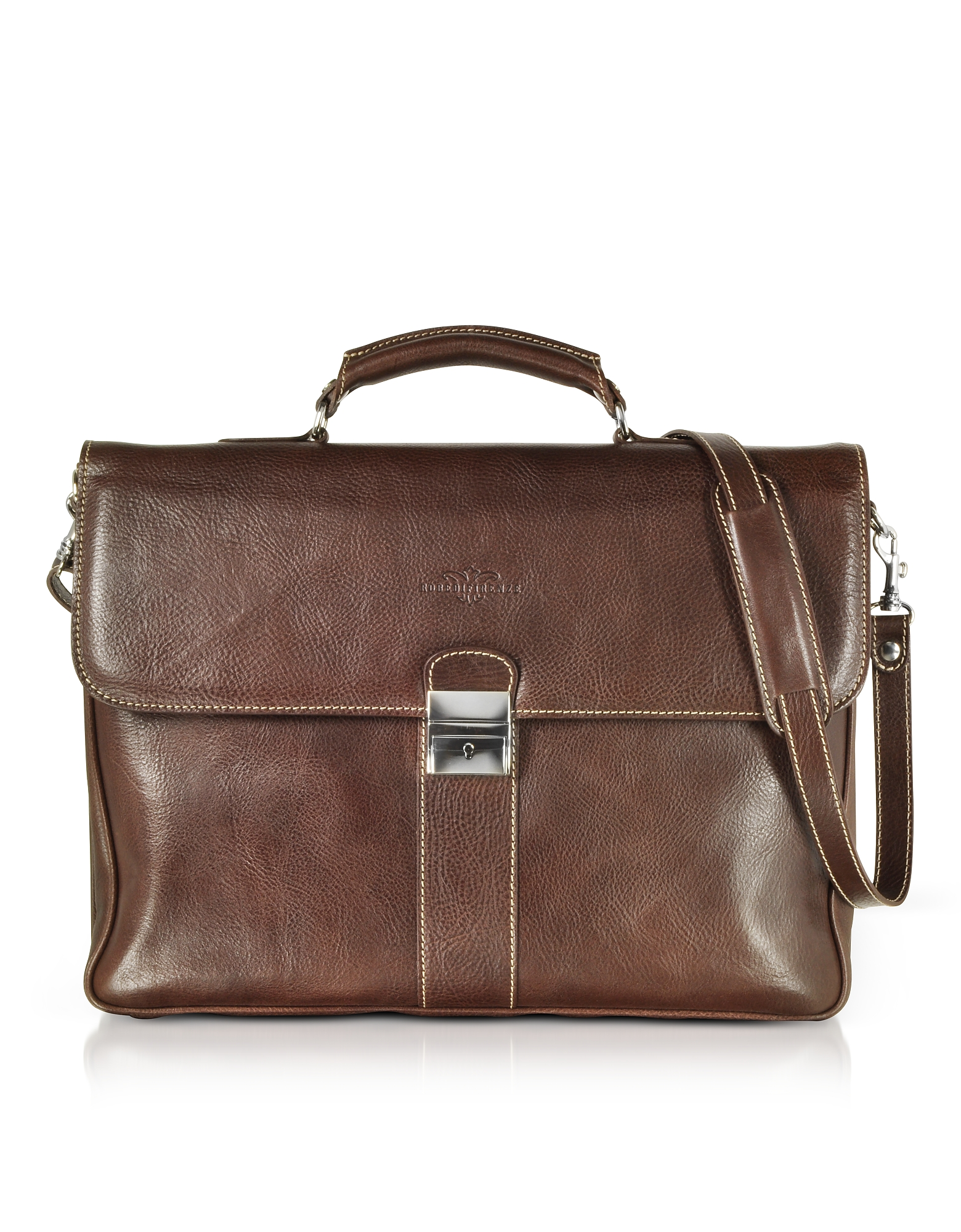 Image of Robe di Firenze Designer Briefcases, Dark Brown Double Gusset Leather Briefcase