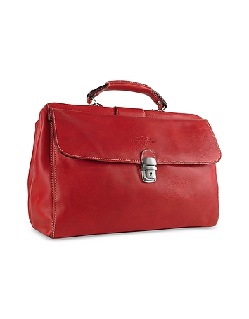Red Medium Genuine Italian Leather Doctor Bag