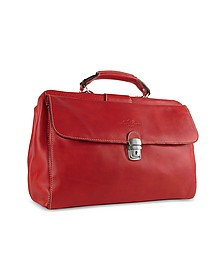 Red Medium Genuine Italian Leather Doctor Bag - Robe di Firenze