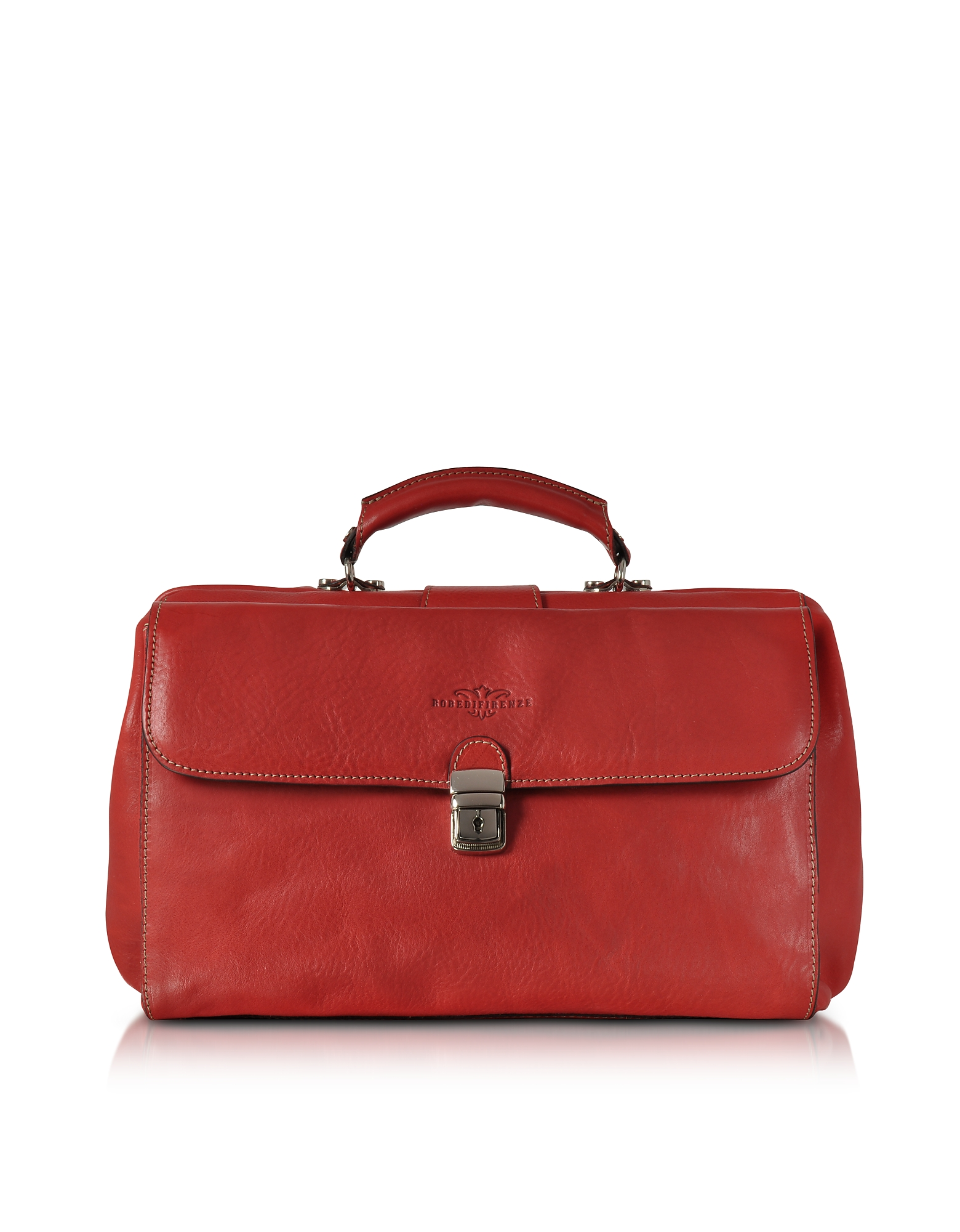 Robe di Firenze Briefcases, Red Medium Genuine Italian Leather Doctor Bag