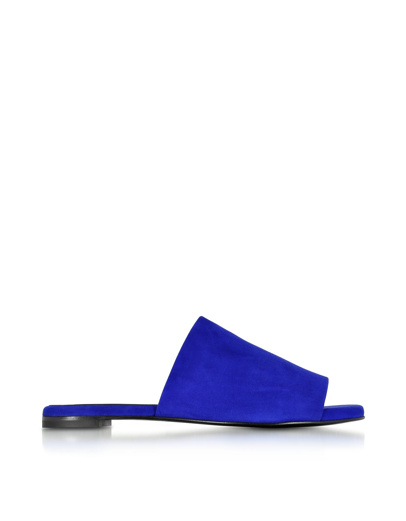 Gigy Klein - Синие Замшевые Сандалии на Плоской Подошве