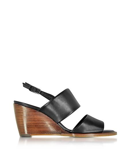 Robert Clergerie Gumi Wedge Sandale aus Leder in schwarz