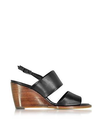 Robert Clergerie - Gumi Black Leather Wedge Sandal