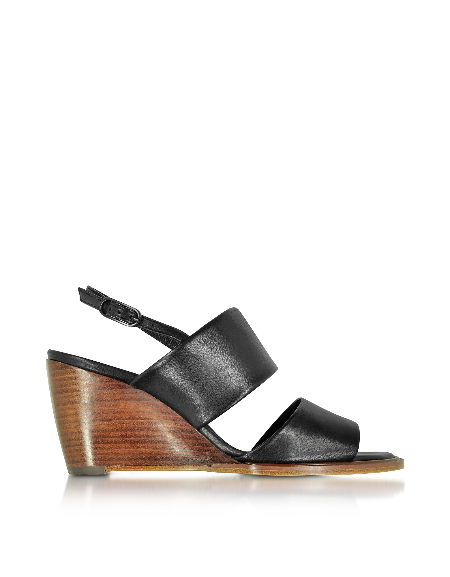 Robert Clergerie Shoes, Gumi Black Leather Wedge Sandal