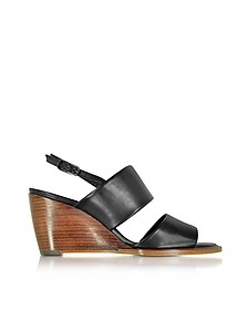 Gumi Black Leather Wedge Sandal - Robert Clergerie