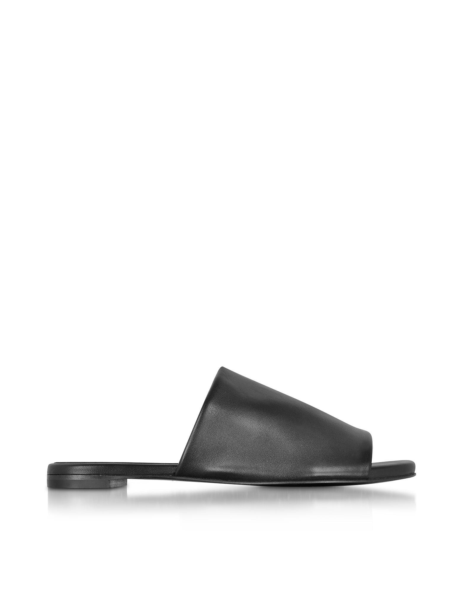 Gatom - Черные Кожаные Сандалии на Плоской Подошве