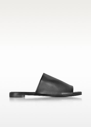 Gatom Black Leather Flat Slide - Robert Clergerie