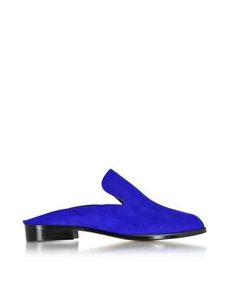 Robert Clergerie Alicem Klein Mule aus Wildleder in blau