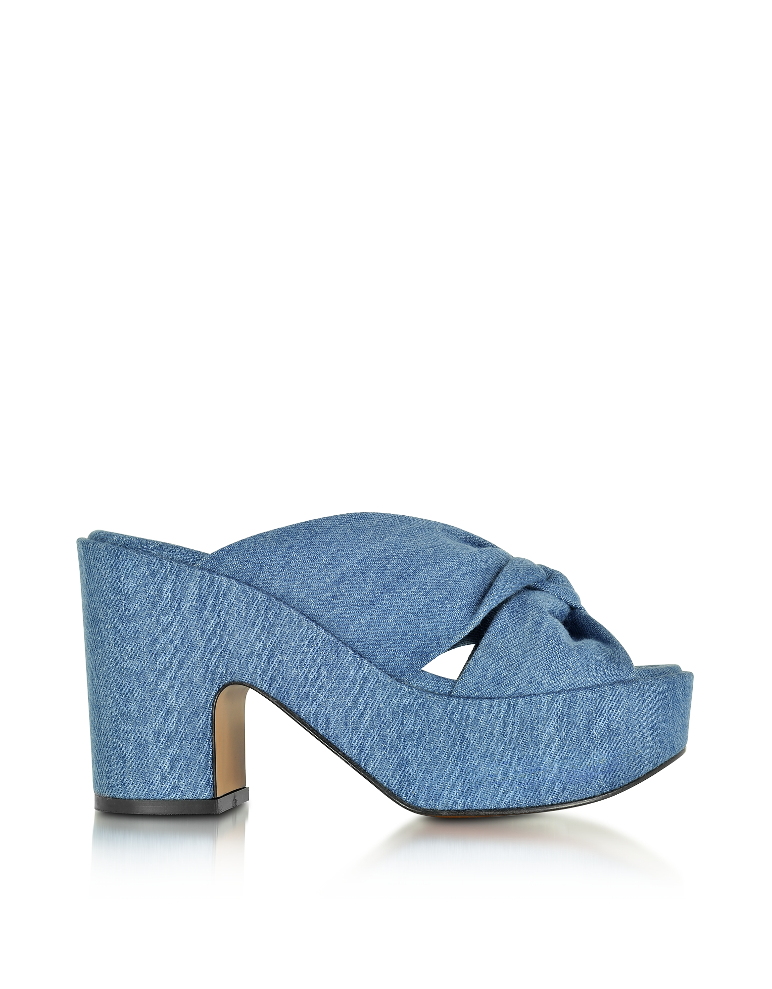Robert Clergerie Shoes, Esthert Blue Denim Platform Slide