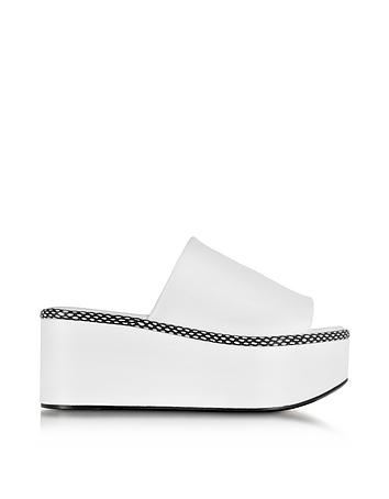 Flore White Leather Platform Sandal