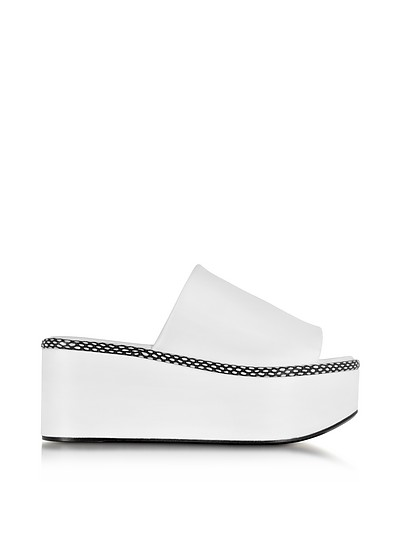 Flore White Leather Platform Sandal - Robert Clergerie