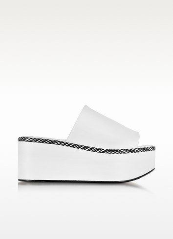 Flore White Leather Platform Sandal - Robert Clergerie