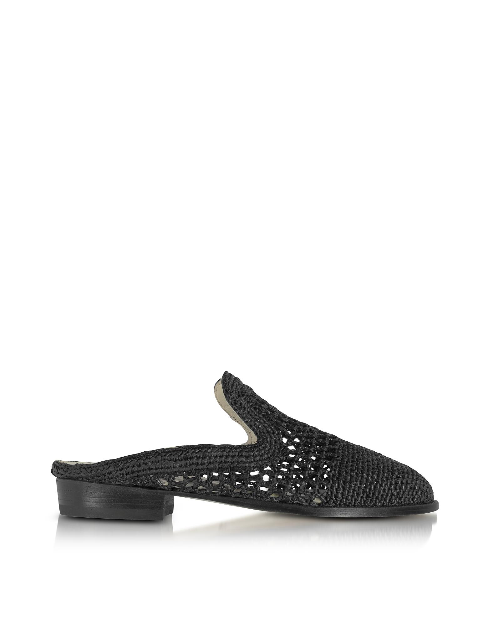 Robert Clergerie Shoes, Antes Black Woven Raffia Mule