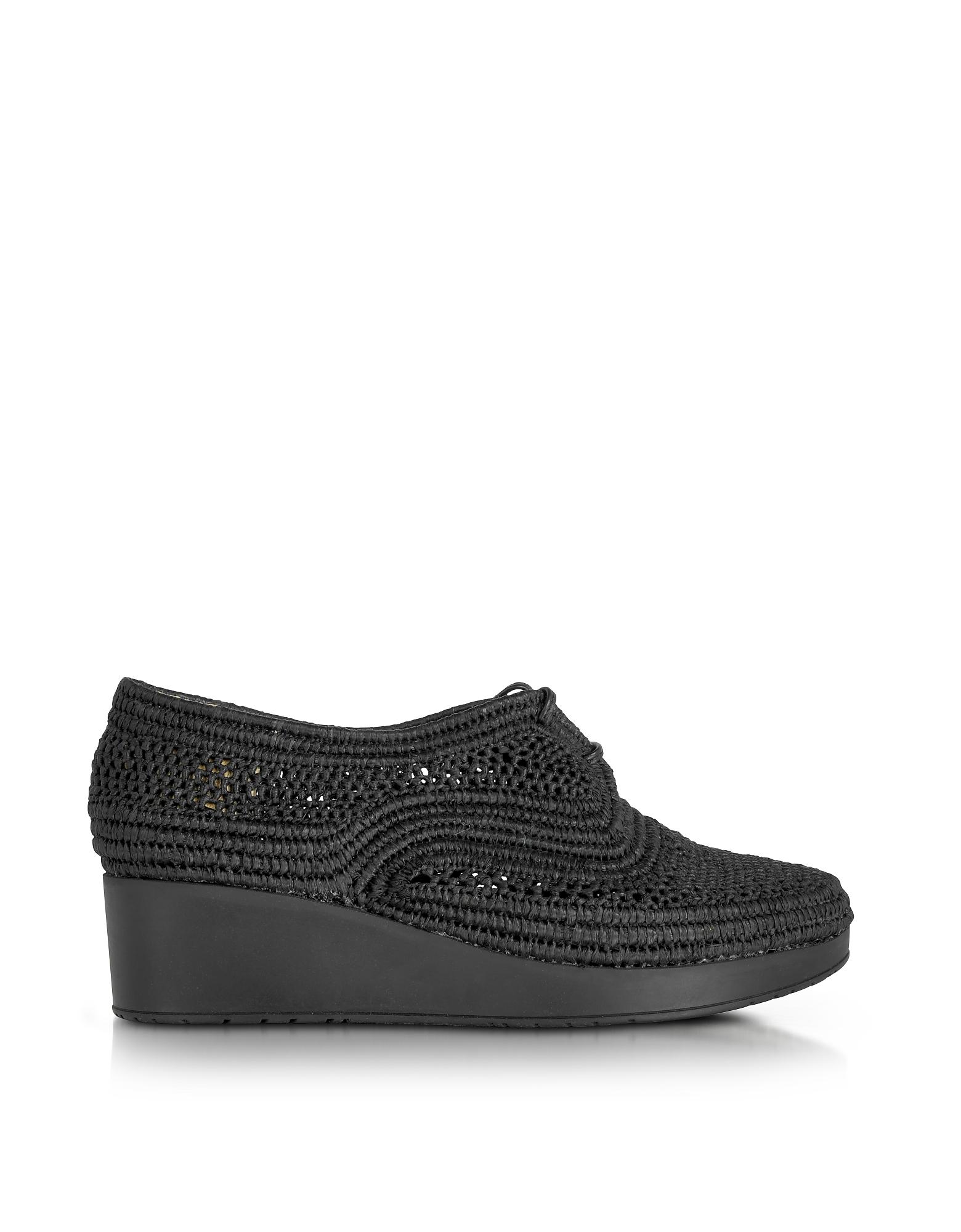 Vicole - Черные Плетеные Туфли Дерби из Рафии на Платформе