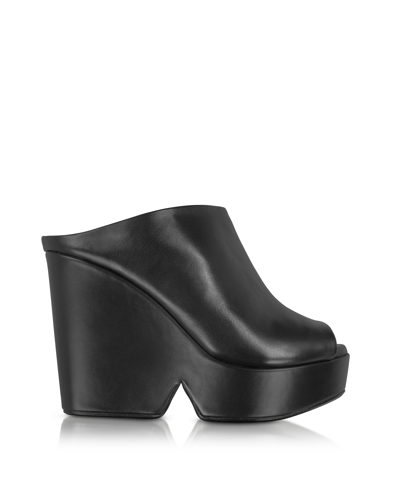 Robert Clergerie Shoes, Dina Black Leather Wedge Mule