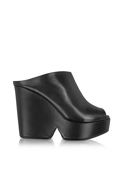 Dina Black Leather Wedge Mule - Robert Clergerie