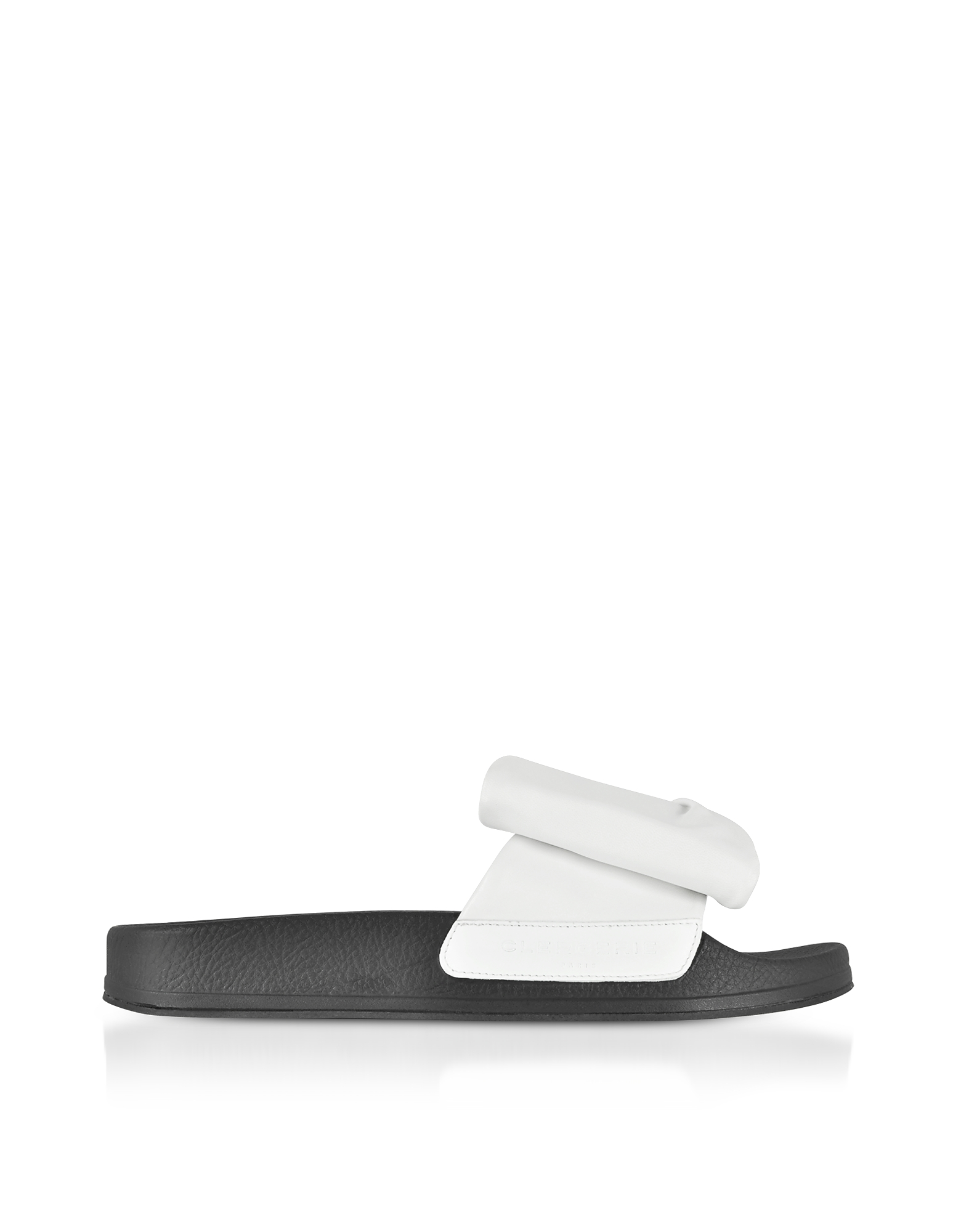 Robert Clergerie Shoes, Wendy White Leather Slide Sandals w/Black Sole