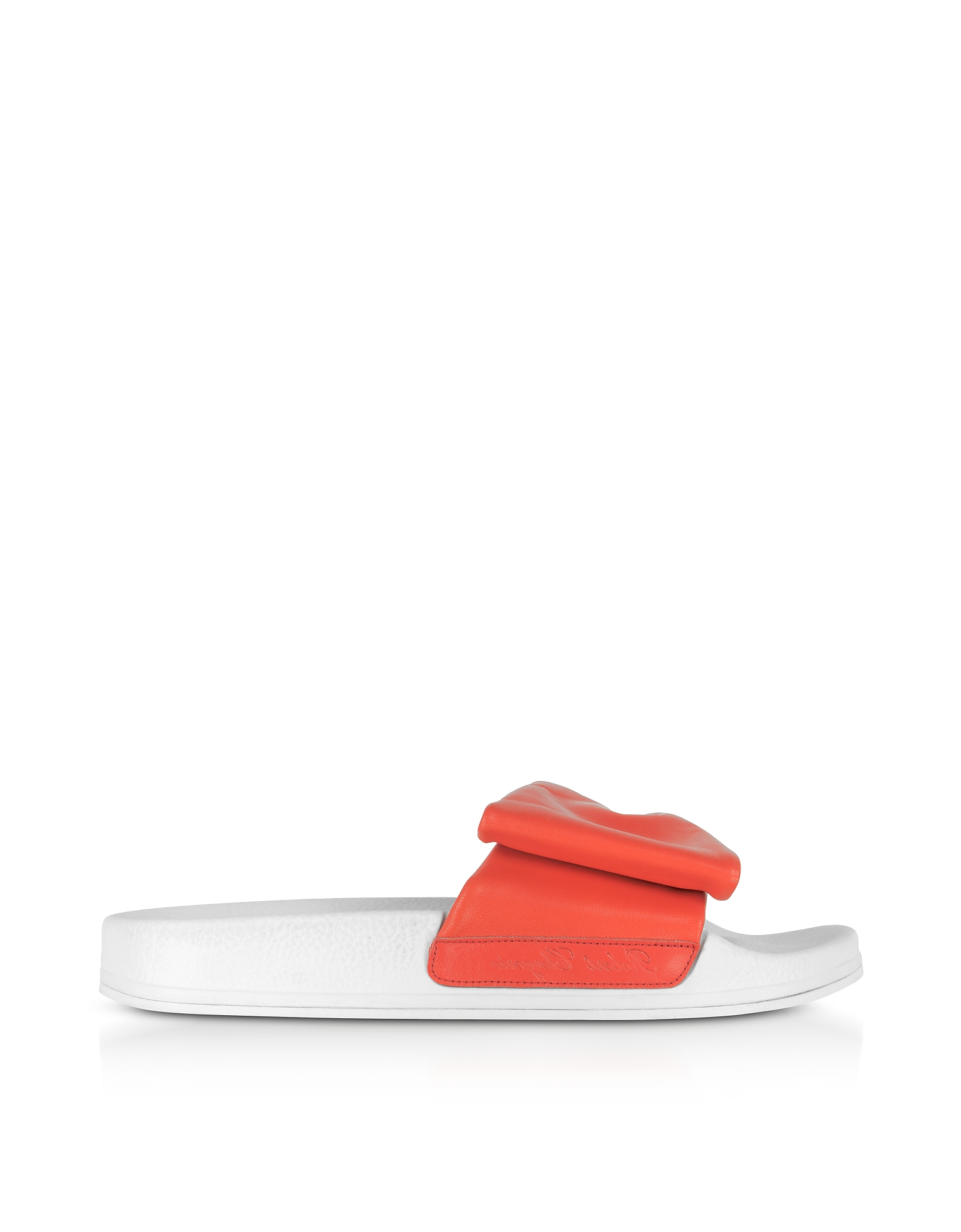 Robert Clergerie Shoes, Wendy Blood Orange Leather Slide Sandals w/White Sole