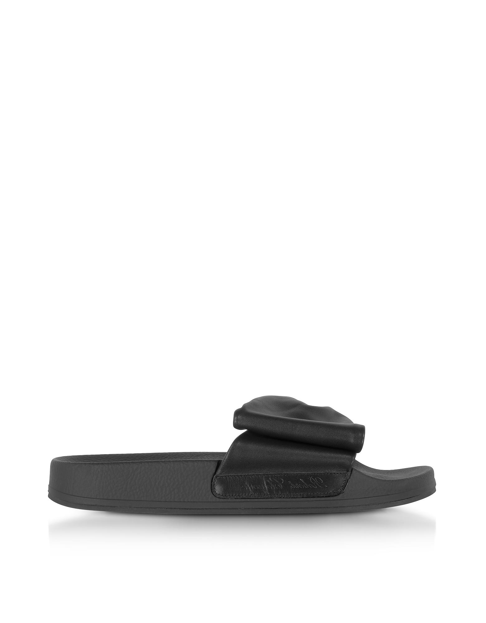 Robert Clergerie Shoes, Wendy Black Leather Slide Sandals w/Black Sole