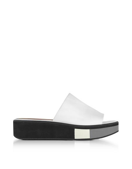 Robert Clergerie Quenor White Leather Flatform Sandals
