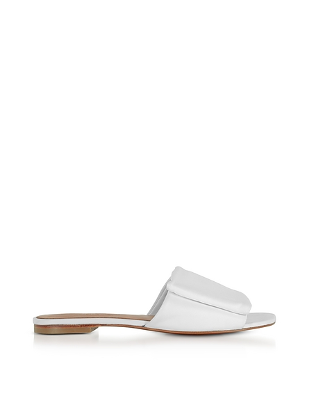 Robert Clergerie Igad White Leather Flat Sandals