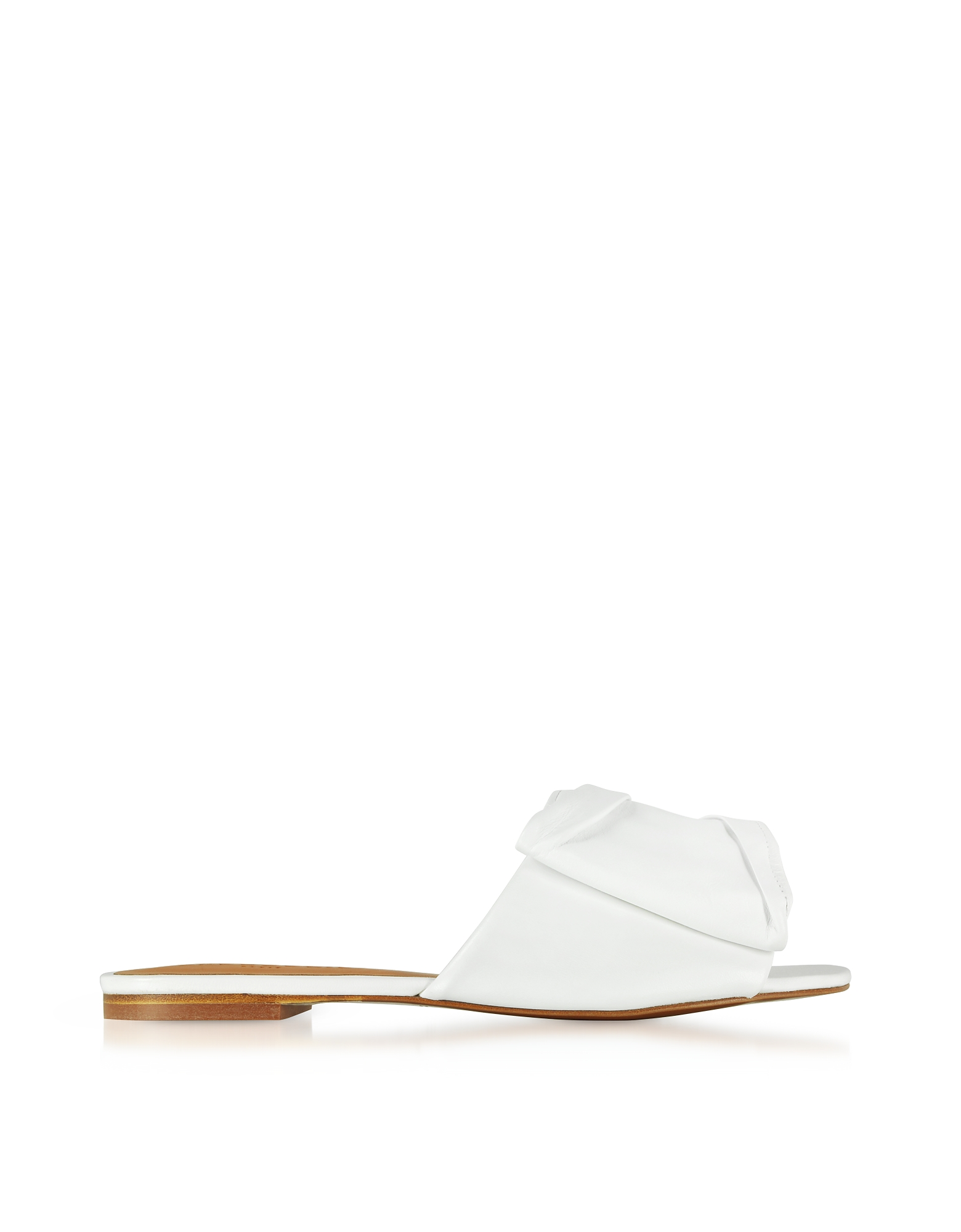 Image of Robert Clergerie Designer Shoes, Igad White Leather Flat Sandals