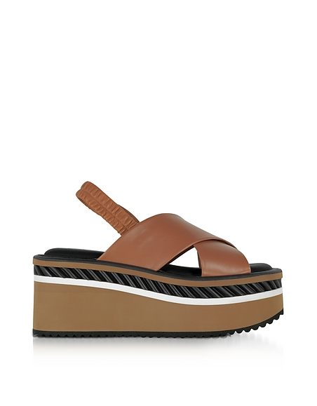 Robert Clergerie Omin Terracotta Brown Leather Platform Sandals