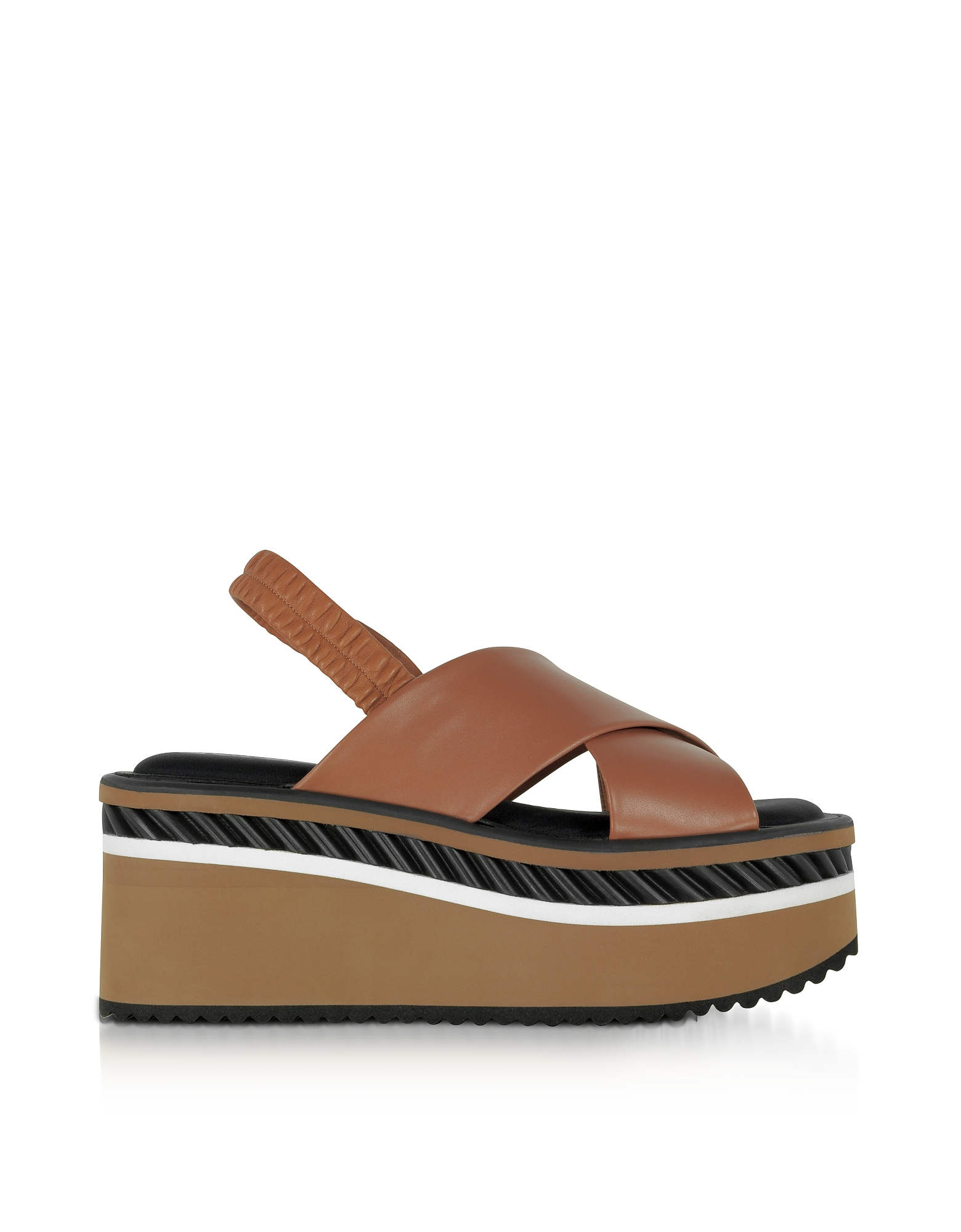 Robert Clergerie Shoes, Omin Terracotta Brown Leather Platform Sandals