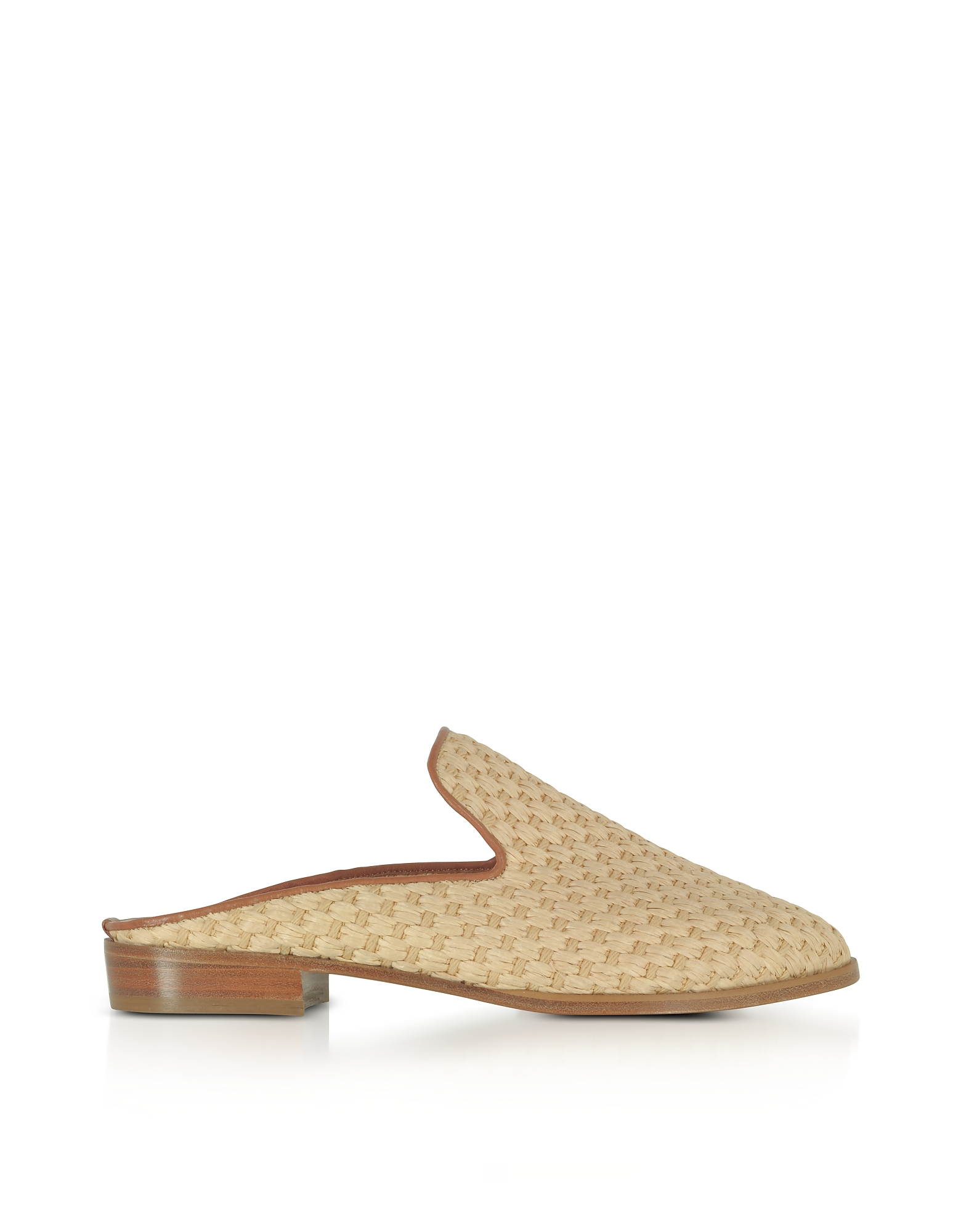 Robert Clergerie Shoes, Aliceop Natural Woven Raffia and Terracotta Brown Leather Flat Mules
