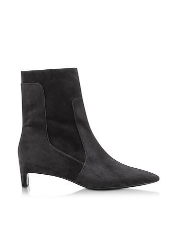 Admir Black Suede Mid Heel Boot