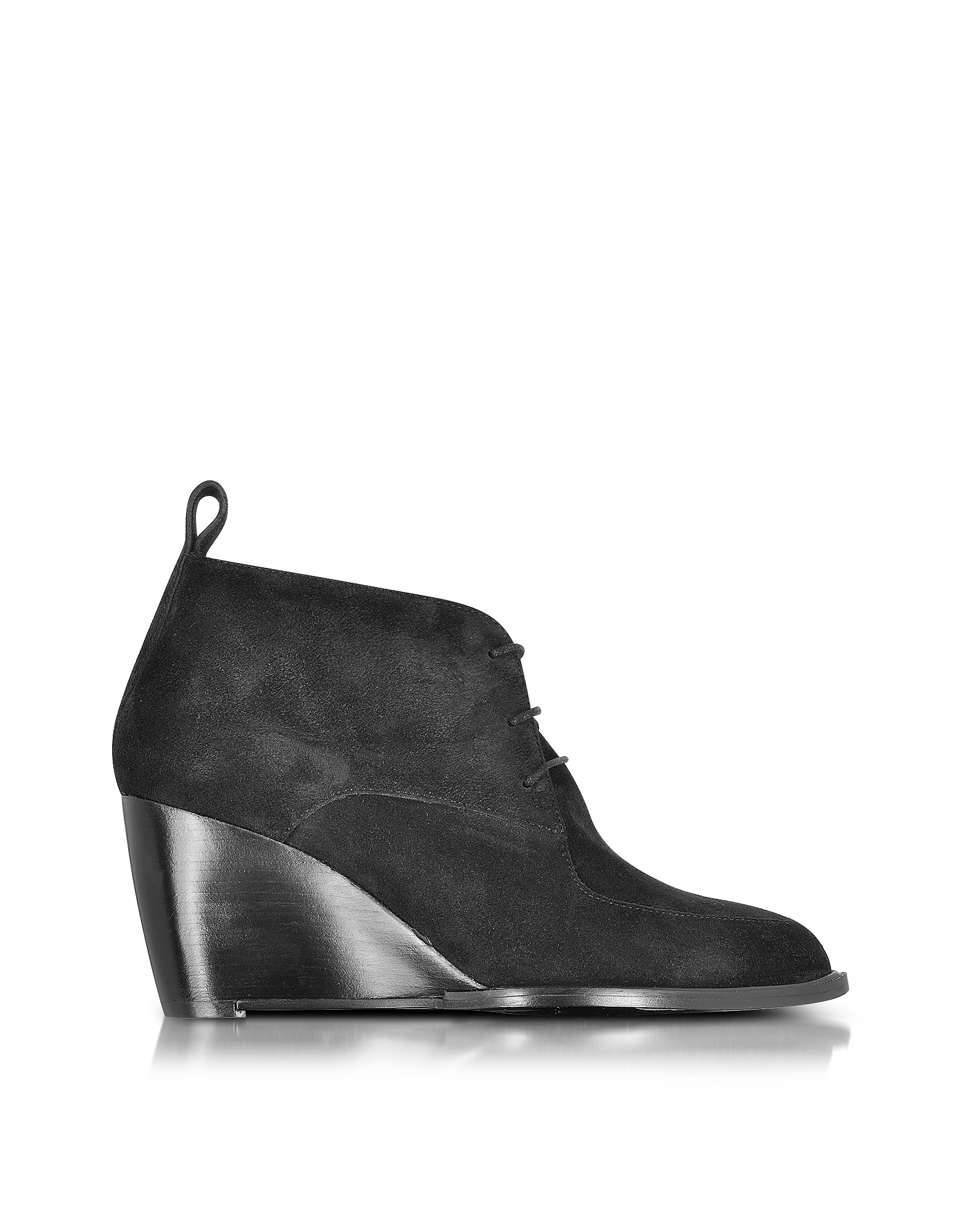 Robert Clergerie Shoes, Orso Black Suede Wedge Bootie
