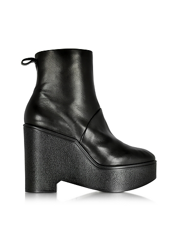Bisout Black Leather Wedge Boot