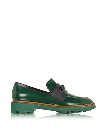 Jate Pine Green Leather Loafer