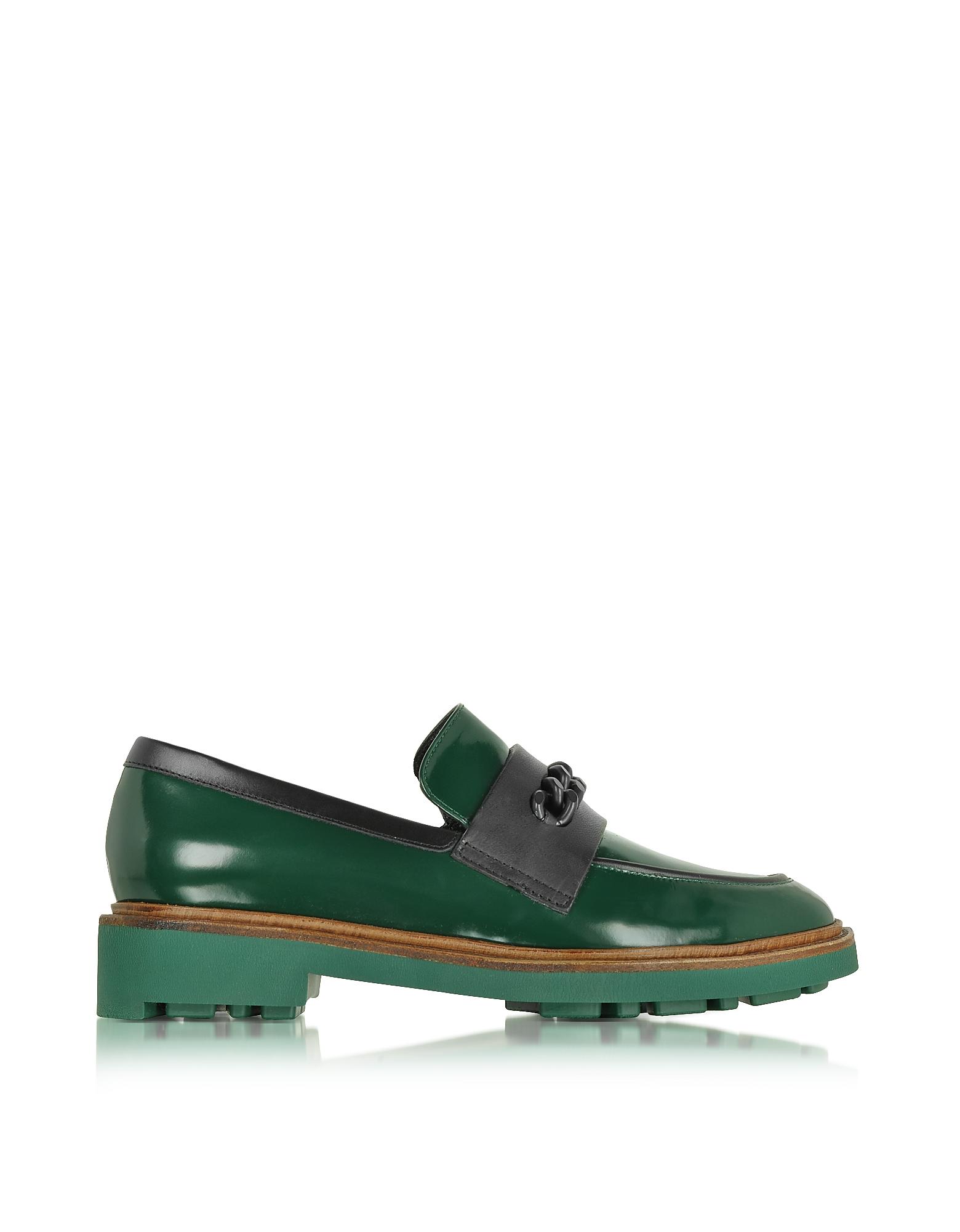 Jate - Темно-зеленые Кожаные Мокасины