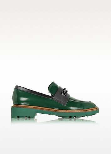 Jate Pine Green Leather Loafer - Robert Clergerie