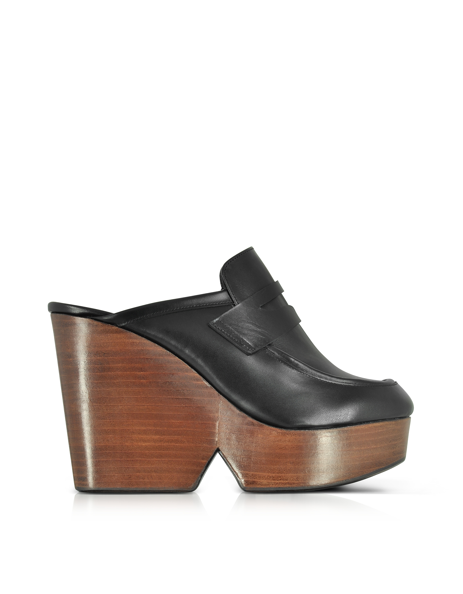 Robert Clergerie Shoes, Damor Black Leather Wedge Mule