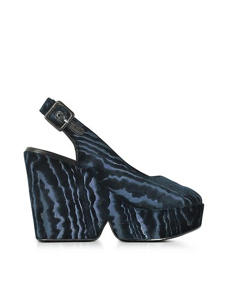 Robert Clergerie Dylan Midgnight Wedge Sandale aus blauem Samt