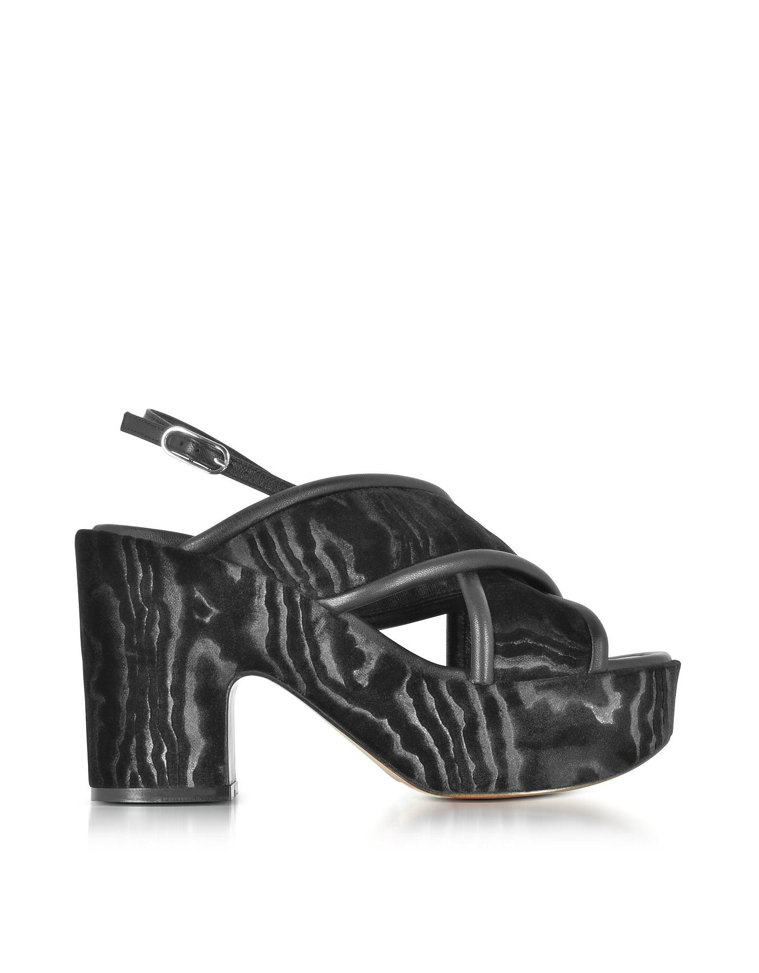 Robert Clergerie Shoes, Emelinet Black Velvet Wedge Sandals